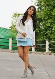 light grey suede boots women s white silk long sleeve blouse light blue mini skirt grey