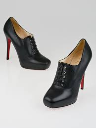 christian louboutin black leather mamanouk 120 lace up booties