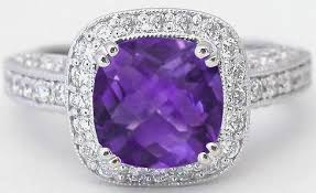 amethyst rings images Amethyst cushion cut and diamond ring with halo setting and jpg