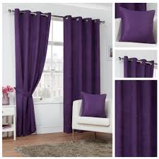 Plum Velvet Curtains Faux Suede Plum Eyelet Ring Top Lined Readymade Curtains 4yh