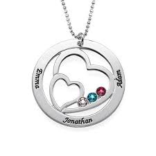 birthstone pendants for family heart necklace in sterling silver with swarovski birthstones