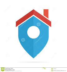 vector logo combination of a place point and house stock vector
