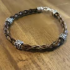 braided bracelet images Unisex sterling silver beaded 4 strand round horse hair braided jpg