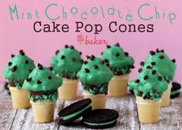 cake cones mint chocolate chip cake pop cones pint sized baker