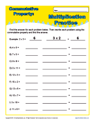 multiplication commutative property worksheets for 3rd grade