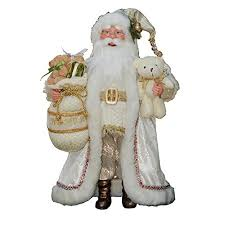 16 inch standing white gold santa claus