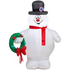 Home Depot Inflatable Christmas Decorations 31 50 In W X 23 23 In D X 42 13 In H Lighted Inflatable Frosty