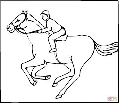 jockey on a galloping horse coloring page free printable