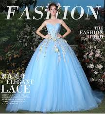 blue wedding dress designer 2017 designer flowers applique blue wedding dresses gown