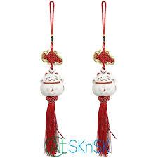 2pcs fashion souvenir china knot mascot ceramic lucky cats