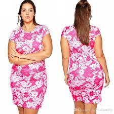2016 summer 3xl 8xl women dresses plus size cute floral print pink