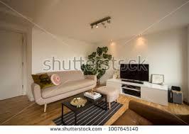 livingroom glasgow living room scandinavian style 3d render stock illustration