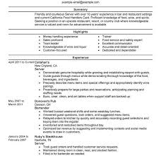 Example Of Server Resume by Bright Idea Server Resume Examples 6 Unforgettable Servers To