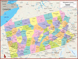 United States Political Map by Pennsylvania Wall Map Political