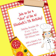 printable pizza birthday party invitations cards celebrations