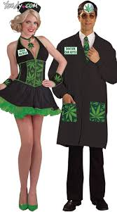 Halloween Costume Doctor Green Leaf Couples Costume Leafy Head Nurse Costume Weed