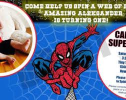 spiderman birthday photo invitation etsy