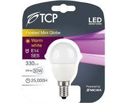tcp 5w warm white led bulb e14 mini globe golf ball 330lm 30w