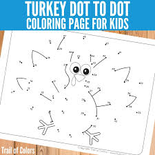 free printable turkey coloring pages turkey dot to dot coloring page for little ones trail of colors