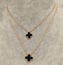 clover chain necklace images Van cleef arpels perlee 2 clover black motif pendants double jpg