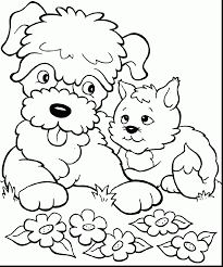 superb cartoon dog and cat coloring pages with dog and cat