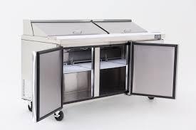 three door open top marble counter fridge atosa
