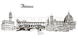 set of florence symbols duomo santa maria del fiore palazzo