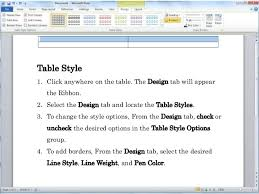 Change Table Style Word Microsoft Word 2010