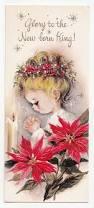 vintage greeting card christmas little praying poinsettias