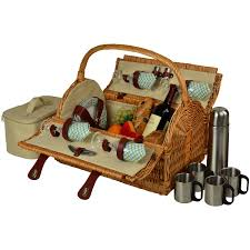 at ascot yorkshire willow picnic basket with service for 4 with