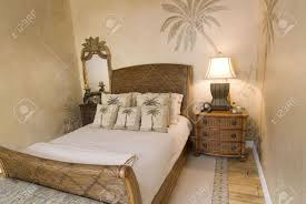 Rattan Bedroom Furniture Tropical Style Rattan Bedroom With Pillows Stock Photo Picture