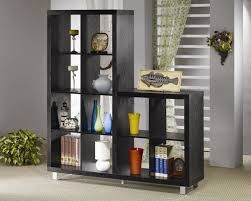 black finish two level modern bookshelf w metal legs