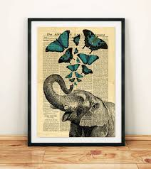 elephant jumbo circus butterfly collage old newspaper vintage