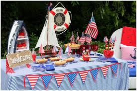 Nautical Table Decoration Ideas Nautical Red White Blue July 4th Party Pizzazzerie
