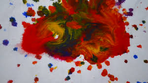 Orange Paint by Blue Orange And Red Color Dripping Down On Bottom Blue Color