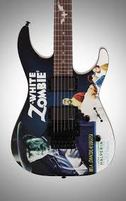 esp ltd khwz kirk hammett white zombie electric guitar with case