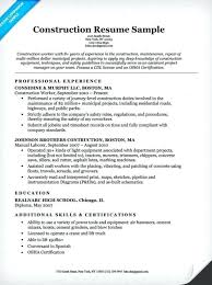 laborer description for resume general construction worker