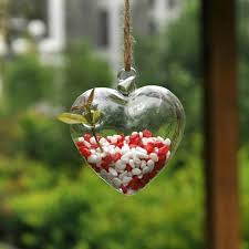 lovely hanging glass heart plants flower vase hydroponic container