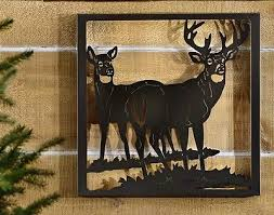 deer themed buck doe metal cutout plaque patio lodge cabin porch