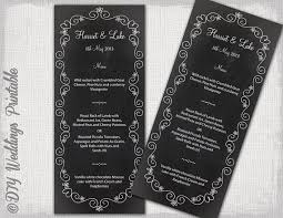 editable menu templates wedding menu template chalkboard black white wedding menu