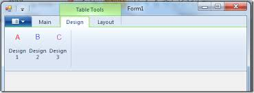 table tools design tab windows ribbon for winforms part 17 contextual tabs codeproject