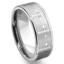 men tungsten rings images Tungsten carbide men 39 s wedding band ring with cross design jpg