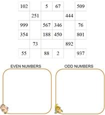 pre made math worksheets for kids even odd numbers