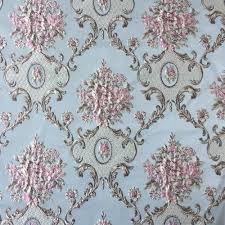 Blue Damask Upholstery Fabric Luxurious Jacquard Woven Light Blue Khaki Damask Emboss Flower
