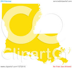 State Of Louisiana Map by Clipart Of A Yellow Silhouetted Map Shape Of The State Of