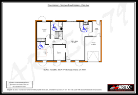 chambre handicapé plan de maison pour handicape norme pp111 m2 4 chambres normes