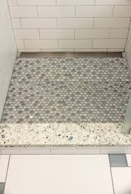 shower threshold in vetrazzo mosaic tile shower floor with