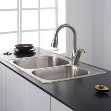 kitchen sinks and faucets kraus ktm32 33 inch topmount 60 40 double bowl 18 gauge stainless