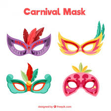 carnival masks colorful carnival masks with feathers vector free