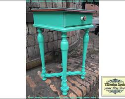 Turquoise Side Table Modern Narrow Table End Table Side Table Narrow Table